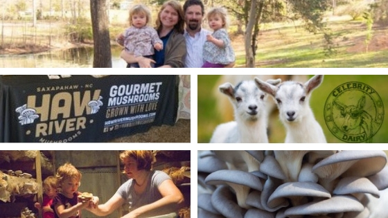 annual wellness dinner, Haw River Gourmet Mushrooms, 2 baby goats